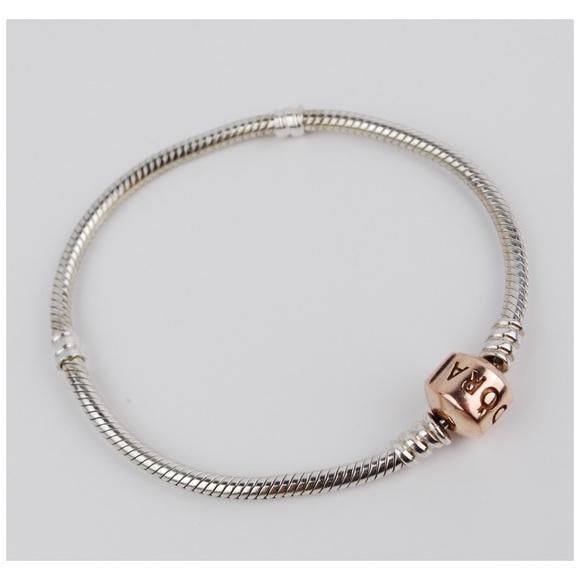 pandora silver bracelet rose gold clasp
